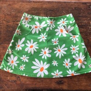 Green floral vintage miniskirt with pockets a-line